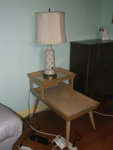 Pair of MidCentury Step Back Tables and Lamp