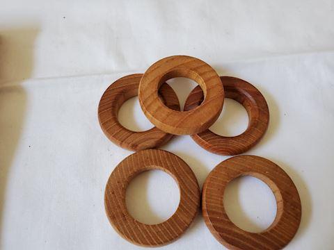 6 wood napkin rings