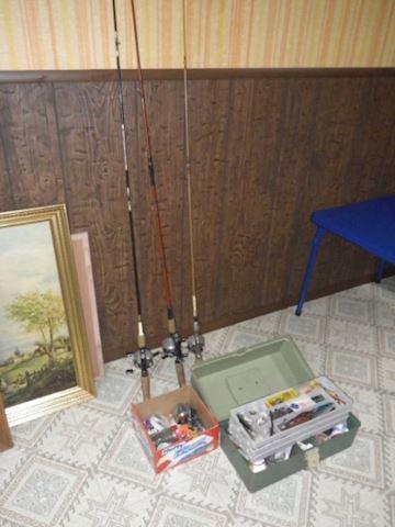 Tackle Box and 3 Fishing Poles