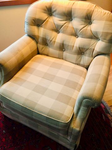 2 plaid matching side chairs