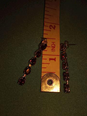 14k red stone (garnet? Ruby?) Drop earrings