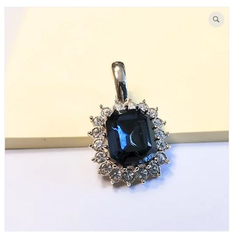Pendant Dark Blue Gemstone w/ Highlights
