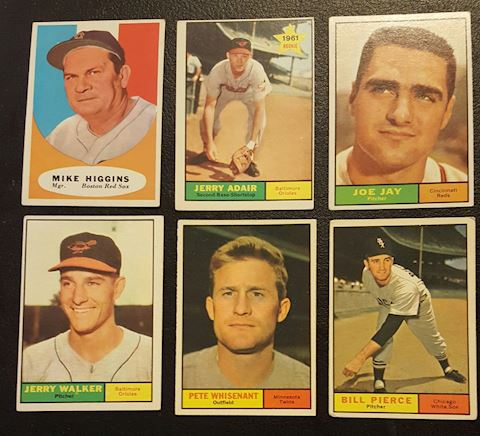 Estate Collection of 6- 1961 Baseball Cards