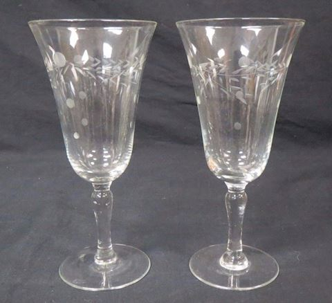 Princess House Crystal Set of 2 Wine Glasses