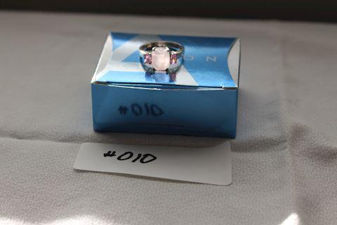 #010 New Avon Ring Size 8  Sterling Quartz Rose