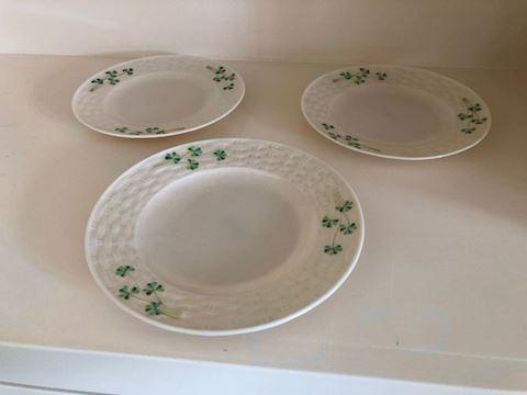 3 Belleek Basketweave Plates