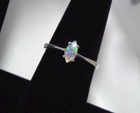Sterling Silver and Opal Ring, size 8