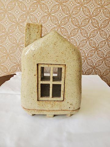 Handmade pottery house designed candle holder