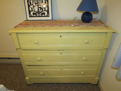 Yellow Painted Antique Wood Dresser