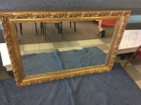 Vintage Large Gold Toned Wood Framed Mirror 55x38