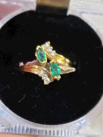 Genuine Emeralds and Diamonds, 14k size 5 3/4