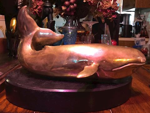 VINTAGE HUGE SIGNED ELWELL BRASS WHALE