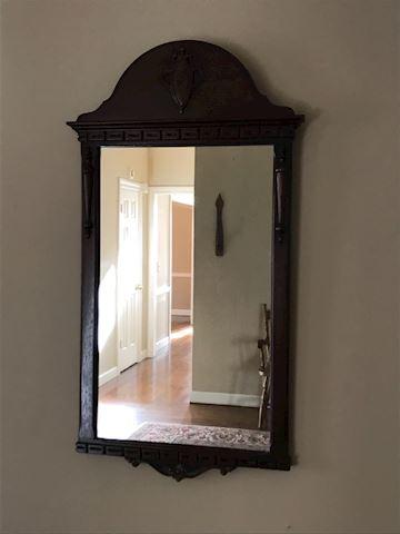 Antique Decorative Walnut Wall Mirror
