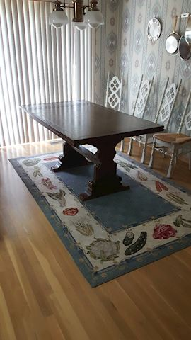 456118 Antique Dining Table w/Pop Up Ends