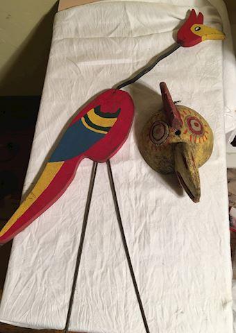Yard Art Bird and Carved Wooden Chicken Head