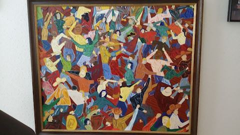 1990 PRICE LARSON COLORFUL EXPRESSIONIST PAINTING