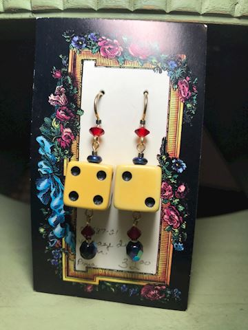 Dice and bead earrings