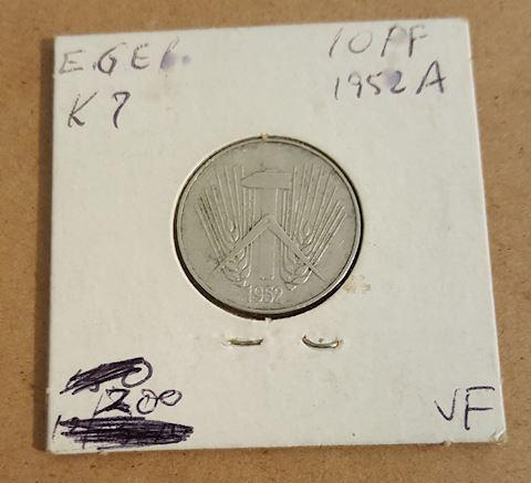 Old 1952 A Germany 10 Pfennig Coin