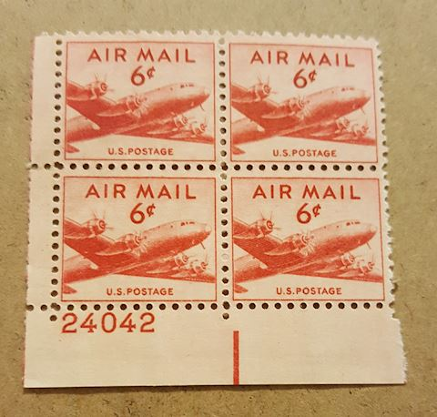 Vintage Plate Block of 4 - 6 Cent Air Mail Stamps