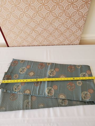 Long light blue and pattern silk textile