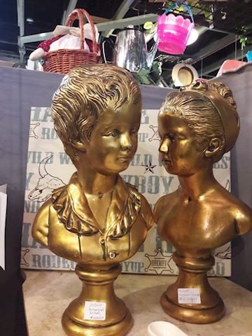 2 Golden Boy & Girl Statues