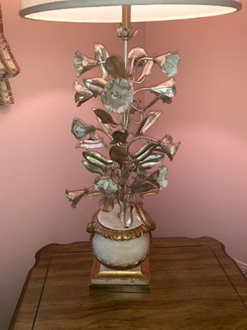 Gilt tole metal leaf lamp Hollywood regency