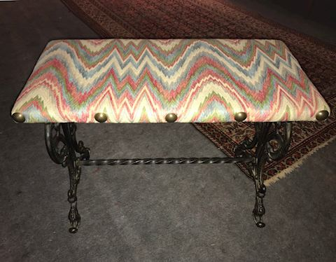 Antique Cast Iron Upholstered Bench/Footstool