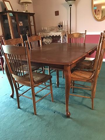 Awesome Antique oak table and six chairs