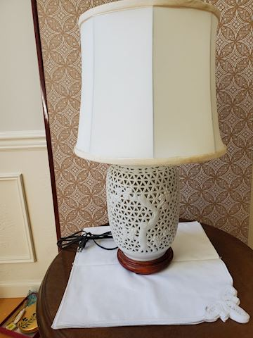 White ceramic lamp cherry blossom & basket design