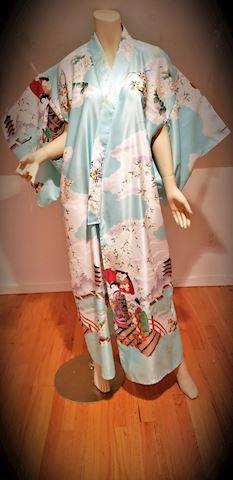 Vtg Marukyo Geisha's Teal KimonoKyoto Tokyo Japan