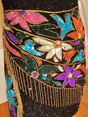 Art Deco Sequin floral beaded dress gold fringe