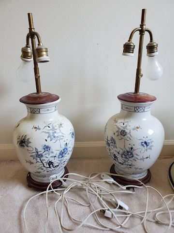 2 white & blue Asian style lamps