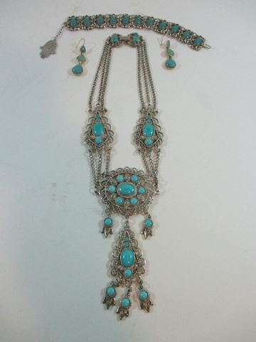 Three Pc Turquoise Set Bracelt, Earrings, Necklace