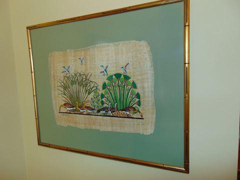 Framed Egyptian Art on Papyrus