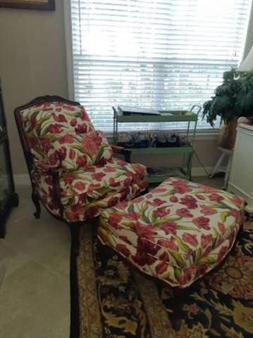 Thomasville Cherry Wood Chair w/ Ottoman