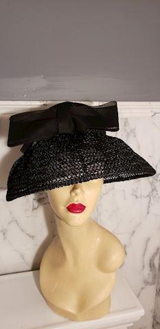 Vtg 1940 Mlle. Arlette NY wide brim straw Hat