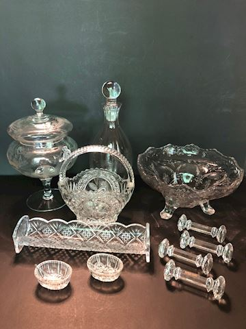 Collection of 11 Pressed Glass and Crystal Items