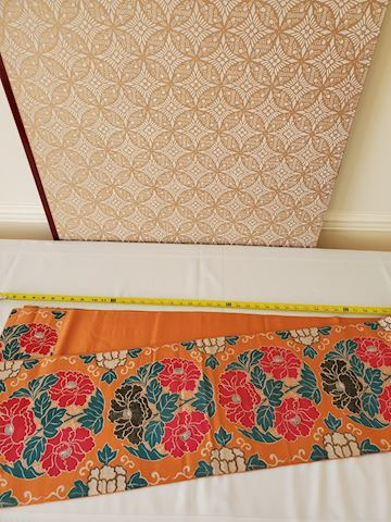 Long floral Japanese silk textile