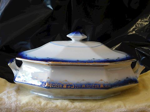 Antique Colonial Sterling China Flow Blue