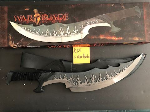 "Large 24"" War Blade with Leather Sheath  Lot 20"