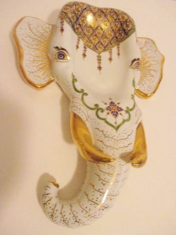 Set of Devahustin Hand Painted Elephant Heads