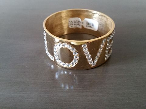 LOVE CUFF BRACELET RHINESTONES GOLD TONE BY ICE