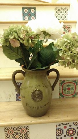 Decorative Ceramic Vase & Silk Flowers