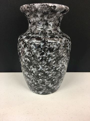 Black & White Patterned Ceramic Vase 9""