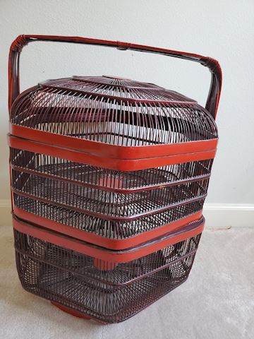 Asian staking open weave red and black basket