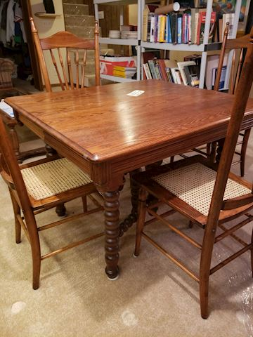 Antique oak dinette table with 4 chairs