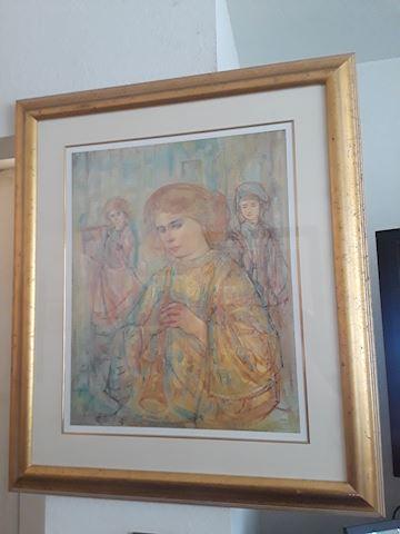 Large Edna Hibel Gold Frame Artwork