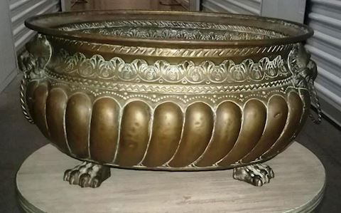 Antique hand-chased brass oval Jardiniere