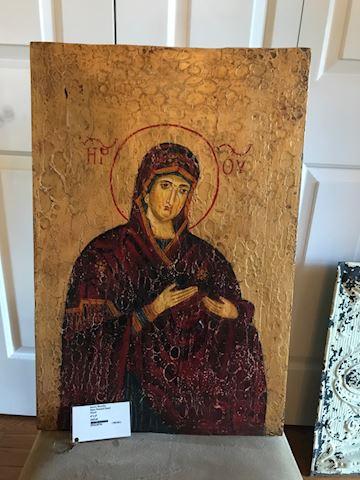 Virgin Mary Painted on Wood