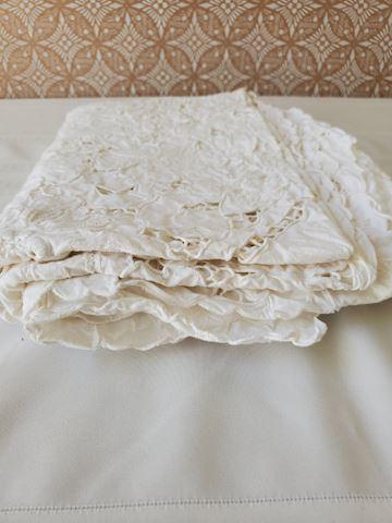 White Battenburg tablecloth